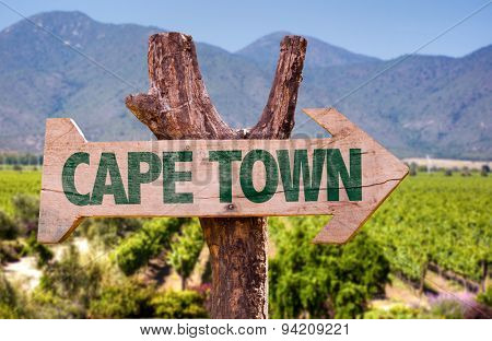 Cape Town wooden sign with vineyard background