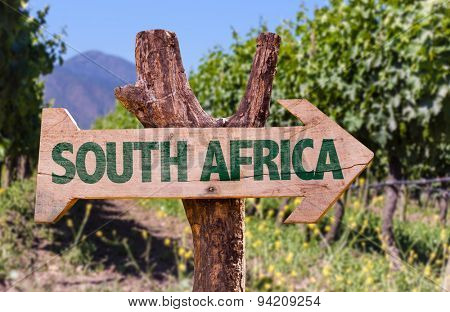 South Africa wooden sign with vineyard background