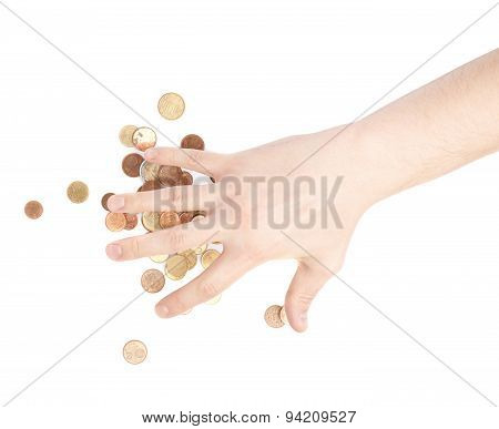 Hand covering over the pile of coins