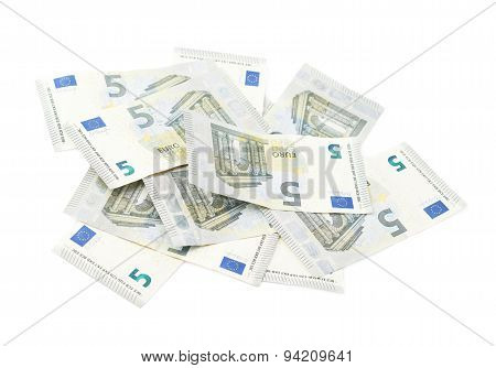 Pile of five euro notes