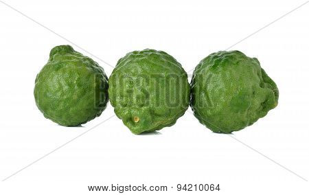 Fresh Bergamot Or Leech Lime On White Background