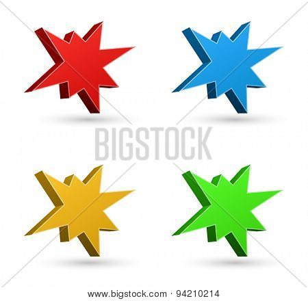 splash starburst icon 3d set