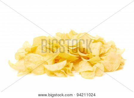 Pile of multiple potato chips isolated