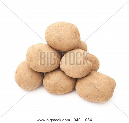 Pile of dirty earth potatoes isolated