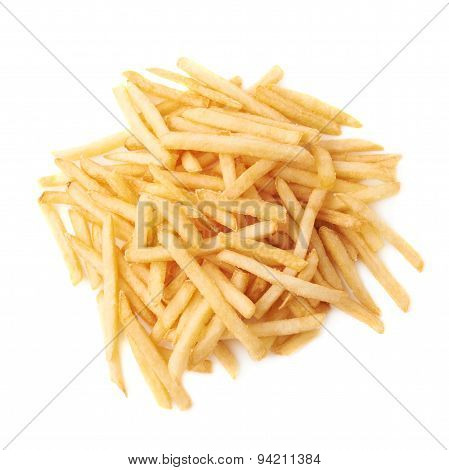 Pile of french fries potatoes isolated