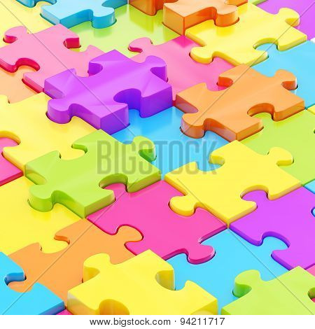 Puzzle pieces covered surface