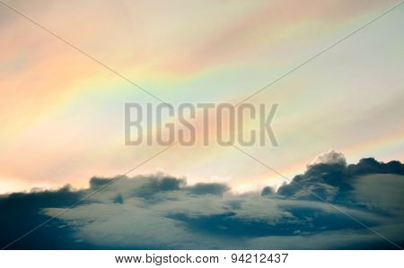 Rainbow clouds and sunset sky used as background