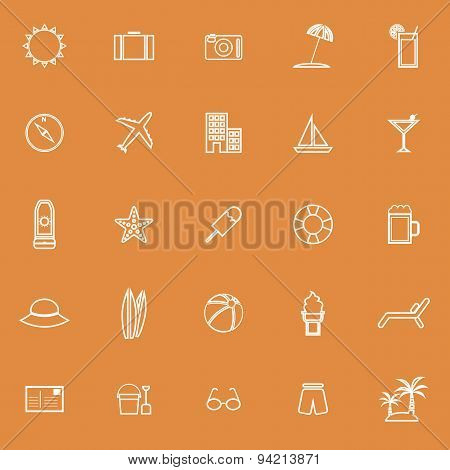 Summer Line Icons On Orange Background