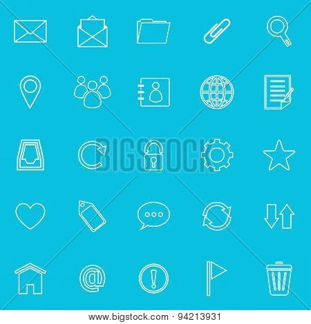 Mail Line Icons On Blue Background