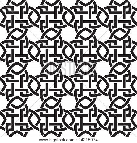 Seamless pattern of intertwined shields