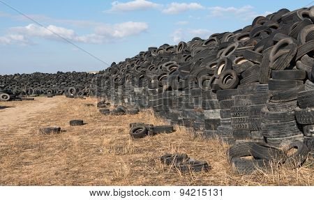 Used Tires In A  Recycling Yard