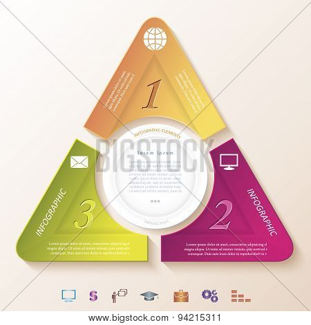 Abstract Infographic Design With Circle And Three Segments. Vector Illustration Can Be Used For Web