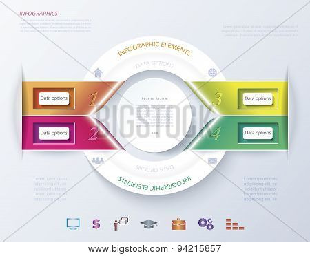 Abstract Infographic Design With White Circle And Color Ribbons. Vector Illustration Can Be Used For