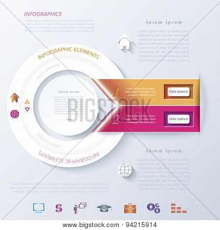 Abstract Infographic Design With Circle And Ribbons. Vector Illustration Can Be Used For Web Design,