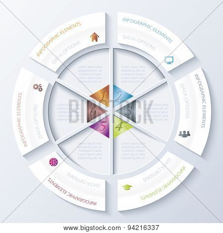 Abstract Infographic Design With Circle And Six Segments. Vector Illustration Can Be Used For Web De
