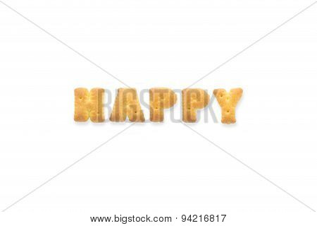 The Letter Word Happy. Alphabet  Cookie Biscuits