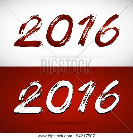 Calligraphy Vector 2016 New Year Sign On White Background And Red Background