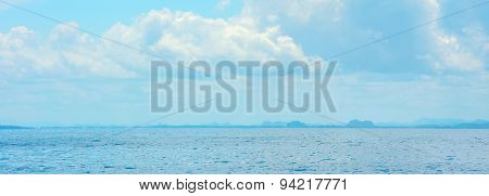 Beautiful Blue Sea And Clouds On Sky, Panorama, Travel Background