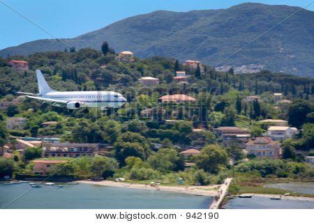 Large Aircraft Landing On Corfu Island, Greece