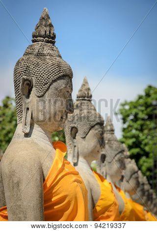 Buddha Statue In Temple At Wat Yai Chaimongkol In Ayuttaya Province, Thailand