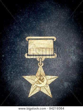 Golden Soviet Star Medal On Stone