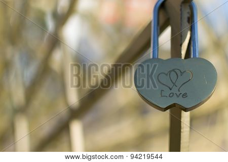 Love Padlock Of Interconnected Hearts
