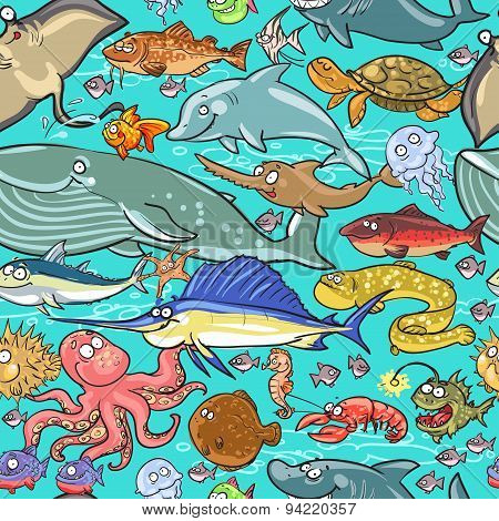 Sea and river animals pattern.