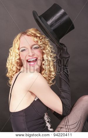 Amusing woman with top hat