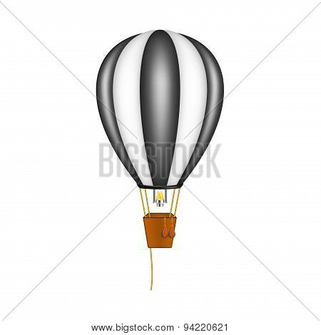 Hot air balloon in black and white design