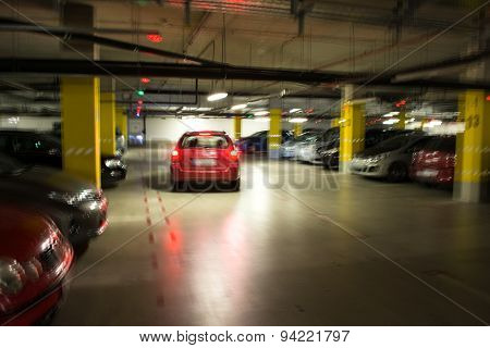 Parking Garage, Underground Interior With A Parked Cars