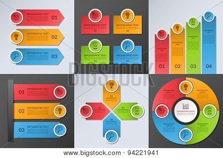 Collection of business infographic design elements. Set of vector colorful templates with 3 or 4 opt