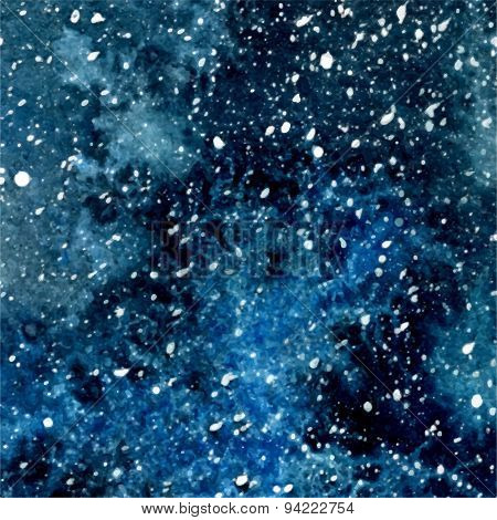 Vector Abstract Deep Blue Watercolor Cosmic Background With White Splashes