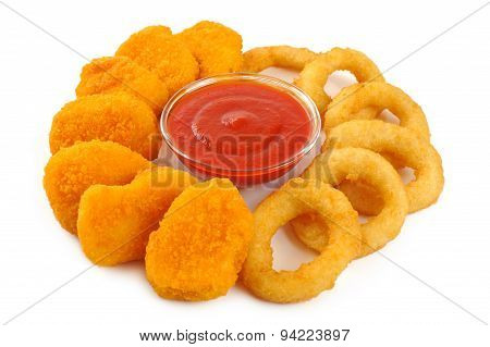 Nuggets, onion rings, ketchup isolated on white background