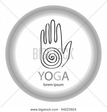 Vector Yoga Illustration In Zentangle Style. Hand As Emblem