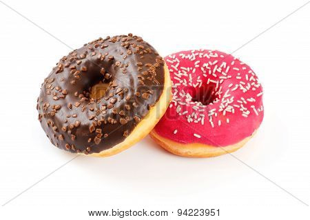 Donuts isolated on white background. Close up.