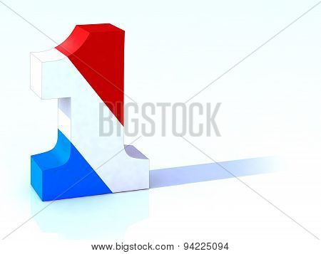 3d Number One With French Flag
