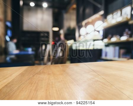 Table Top Counter Bar  Blurred Restaurant Background