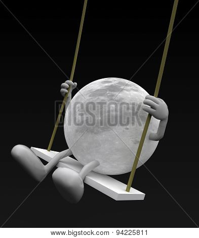 Moon With Arms And Legs On A Swing