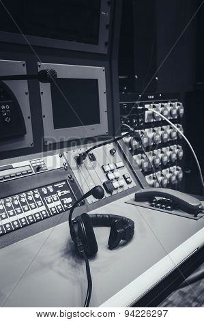 Music Mixer Control Desk In Studio With Headphone