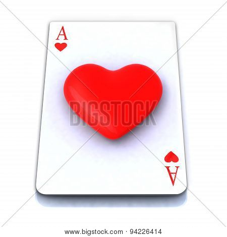 Ace Playing Card With 3D Heart