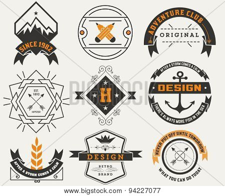 Logotypes set / Vintage Insignias. Vector design elements, logos, identity, objects, labels,and badges.