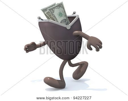 Wallet With Arms And Legs Go Away