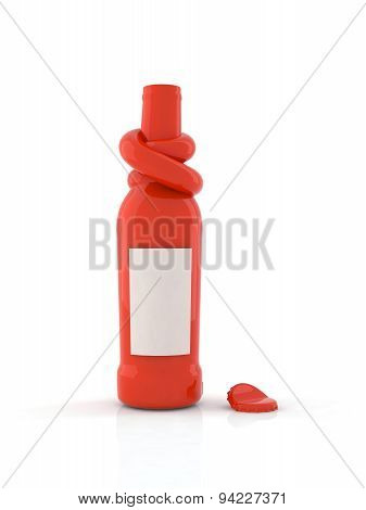 Red Bottle With Knot