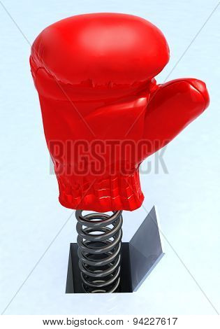 Boxing Glove Coming Out From A Hole