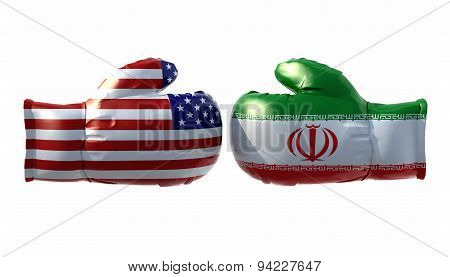 Boxing Gloves With Usa And Iran Flag
