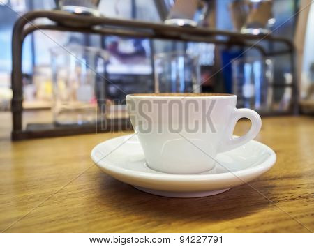 Coffee cup on table counter Blurred glass making drip coffee
