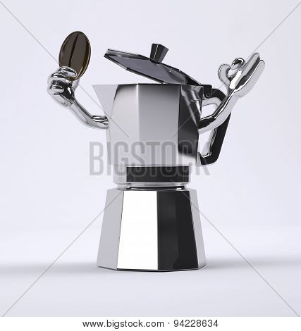 Coffee Pot With Coffee Bean