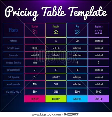 Pricing Table For Your Website