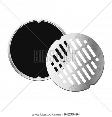 Opened street manhole. Isolated on white background. Top view.