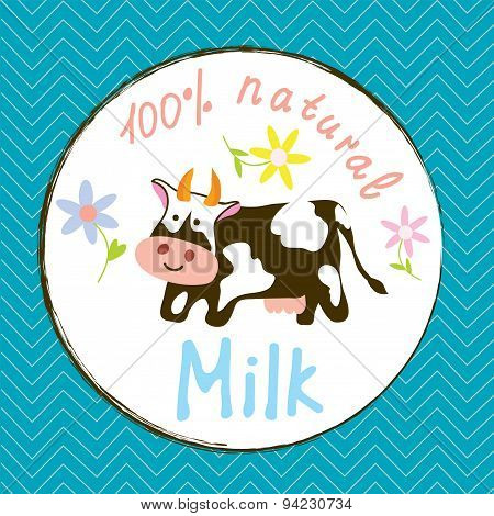 Cow And Milk Funny Label